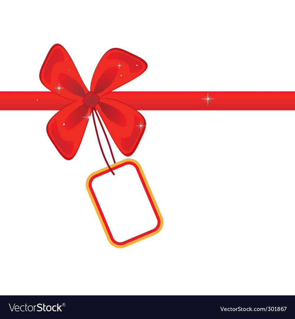 Red bow with card vector image