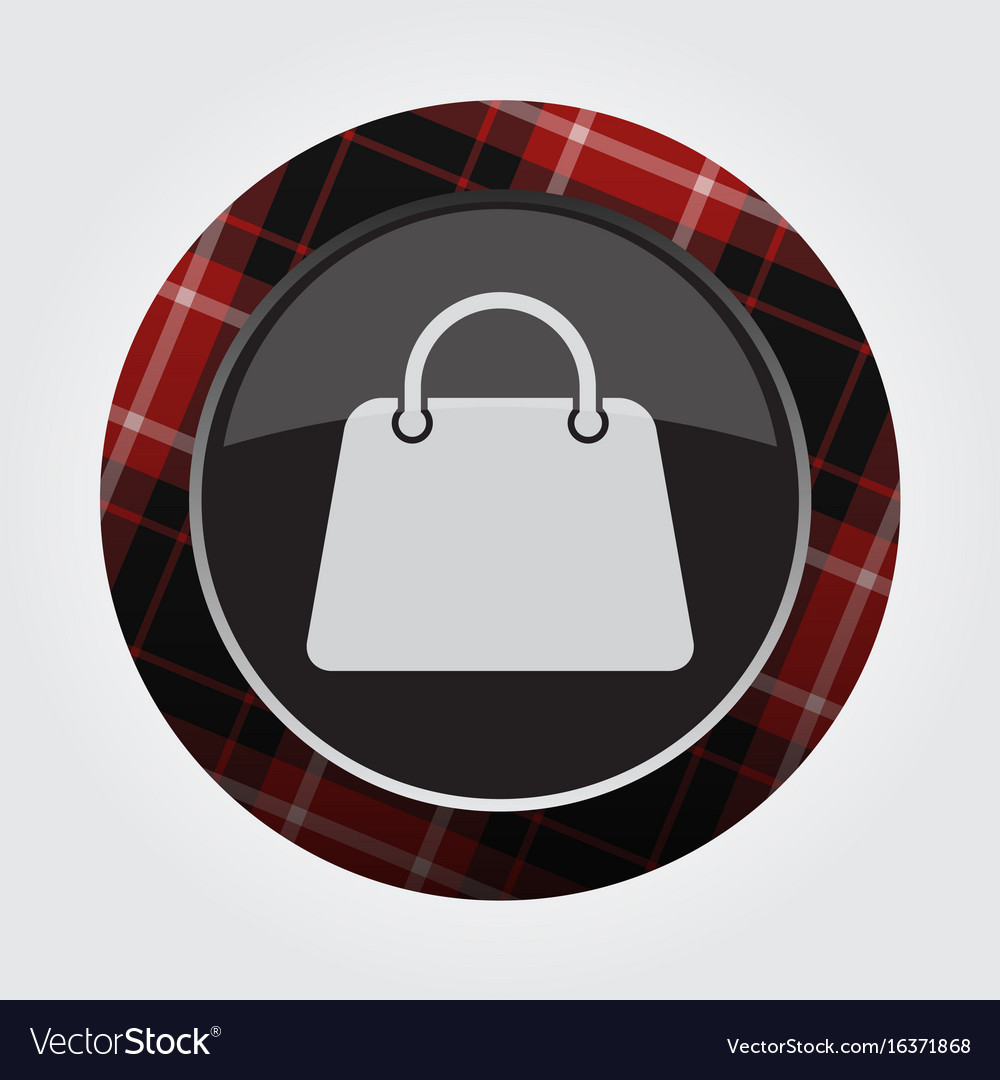 Button with red black tartan - shopping bag icon vector image