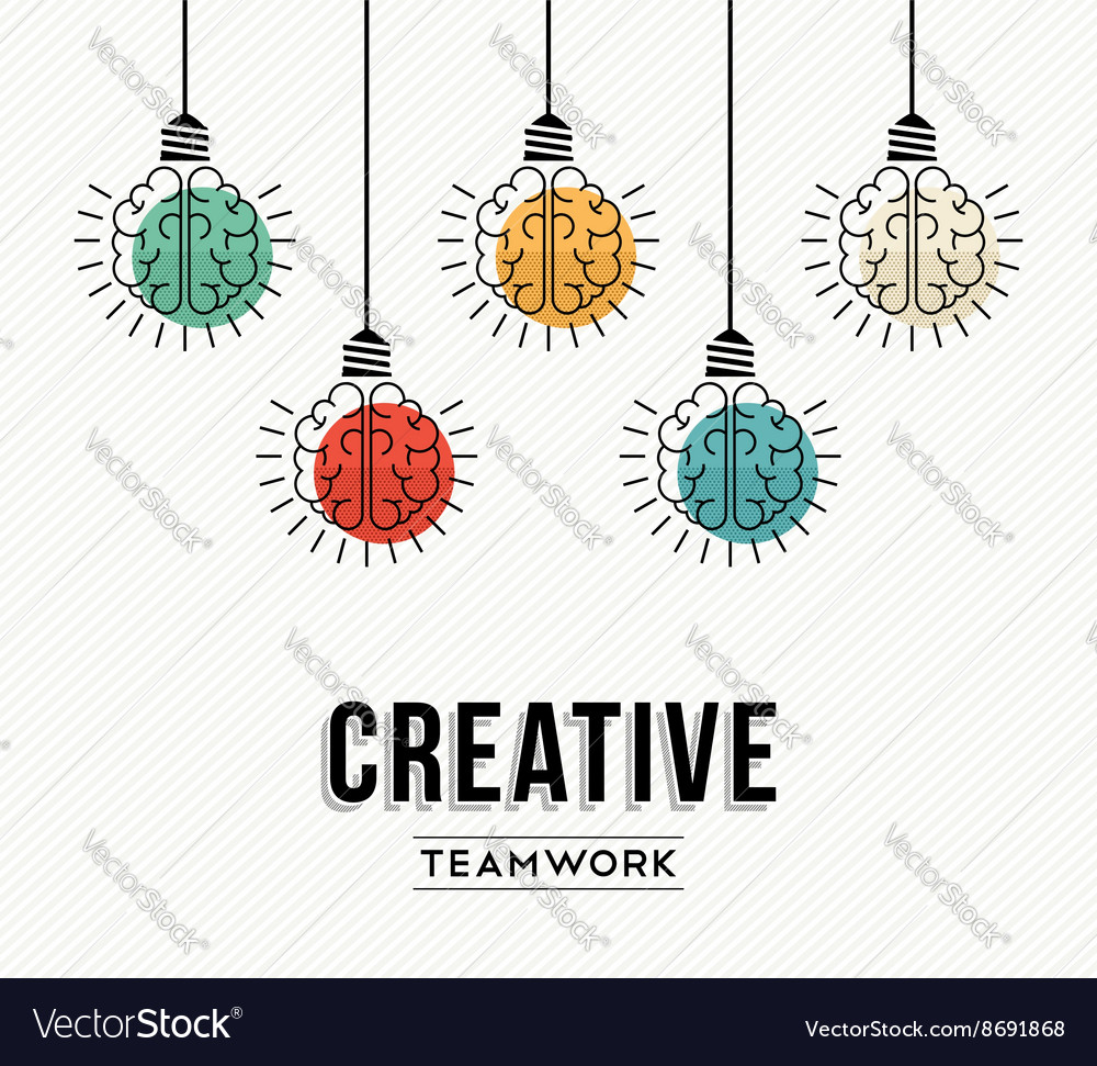 Creative teamwork concept design with human brains vector image