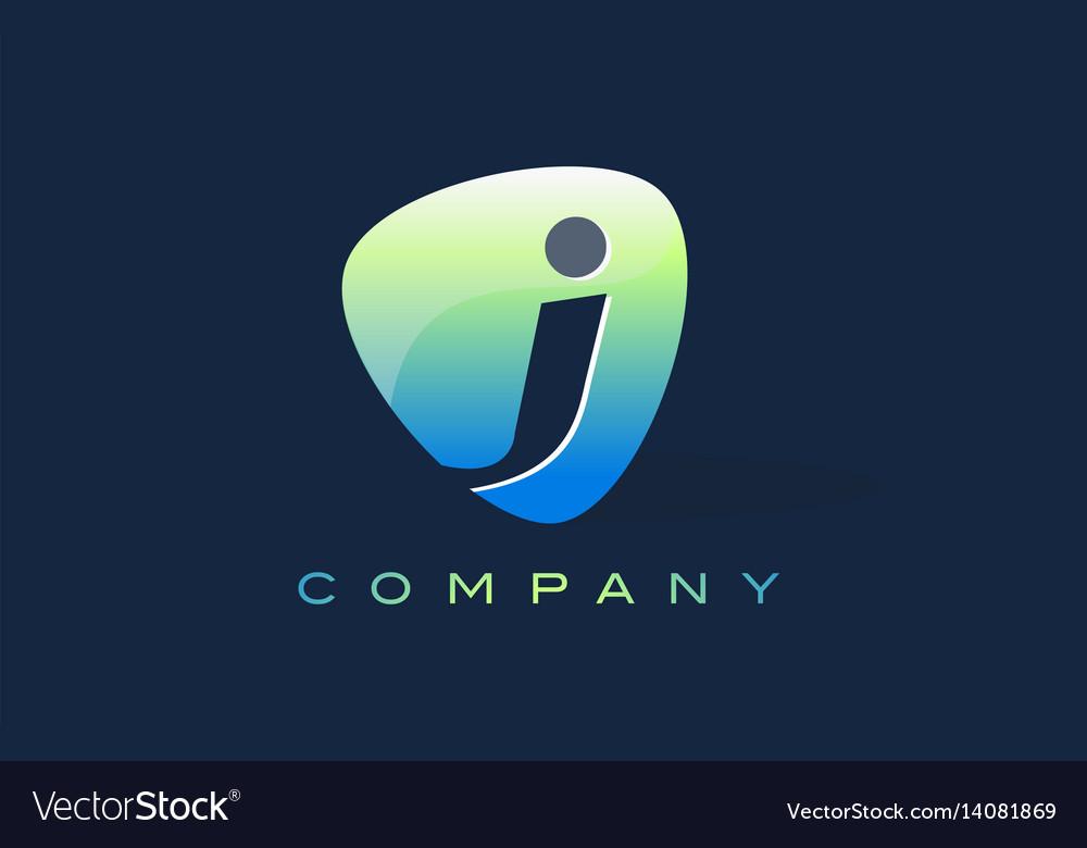 J letter logo oval shape modern design vector image