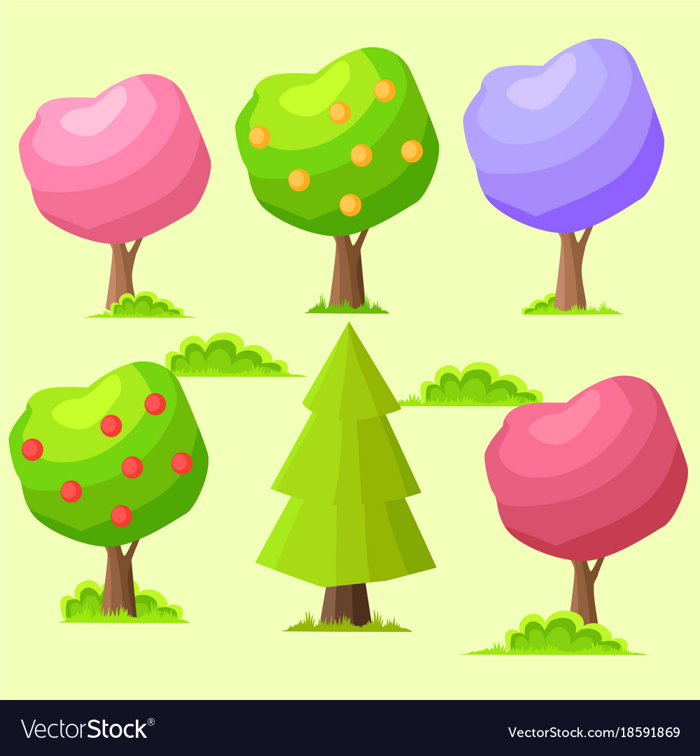 Low poly colorful trees flat set Royalty Free Vector Image