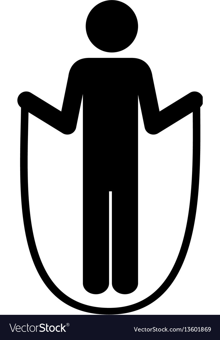 Monochrome pictogram with training in skipping vector image