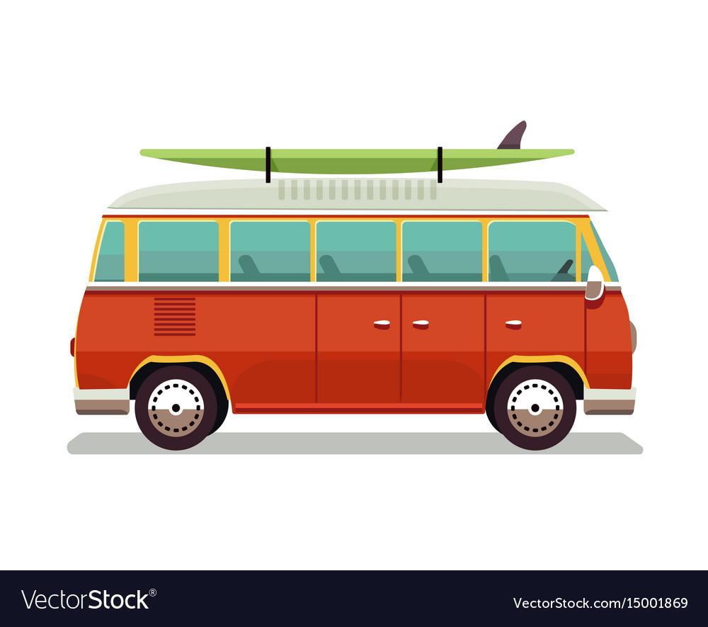 Retro travel red van icon in vector image