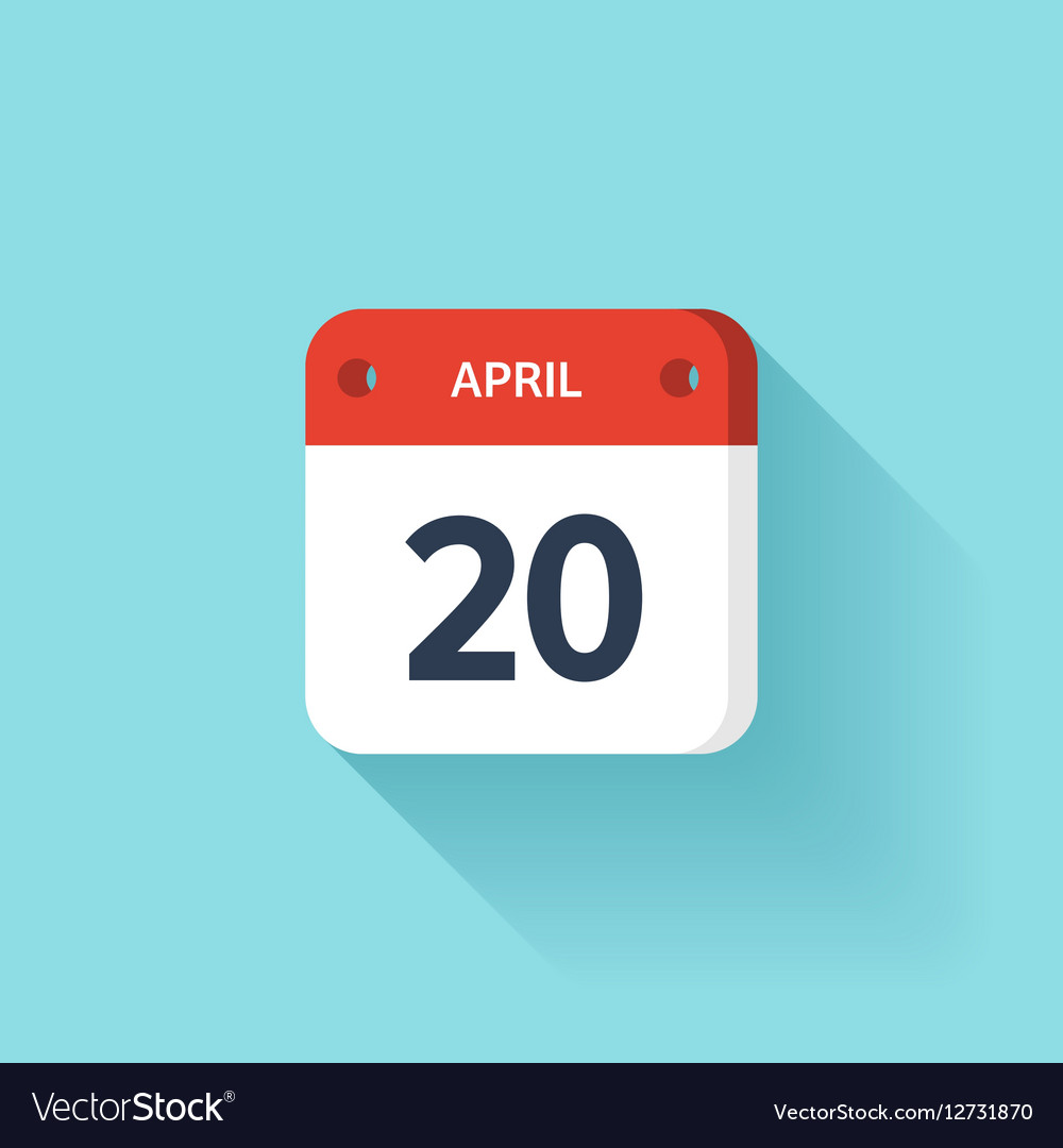 April 20 Isometric Calendar Icon With Shadow vector image