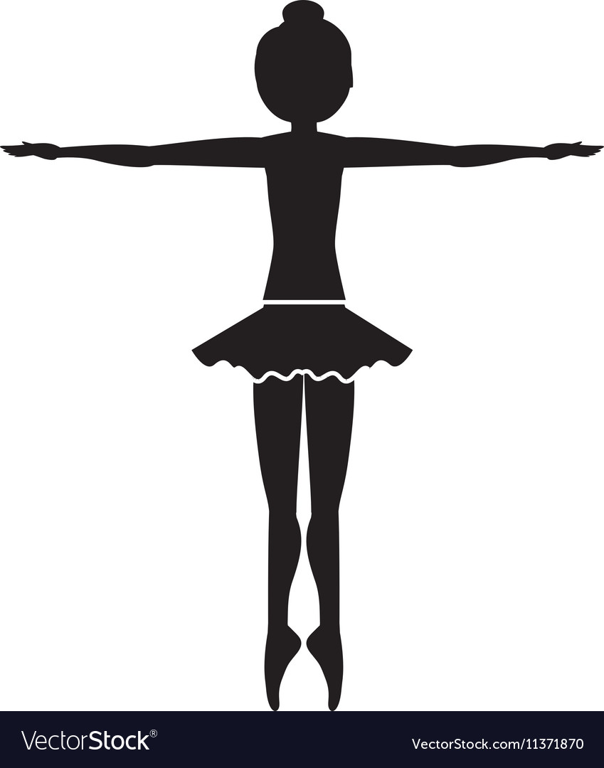 Silhouette dancer fifth position entrechat vector image