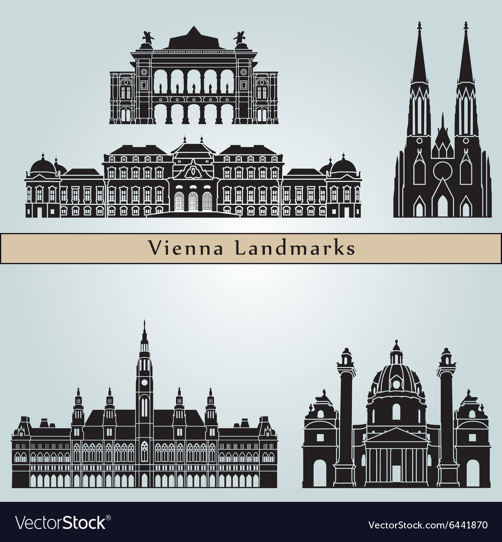 Vienna landmarks and monuments vector image