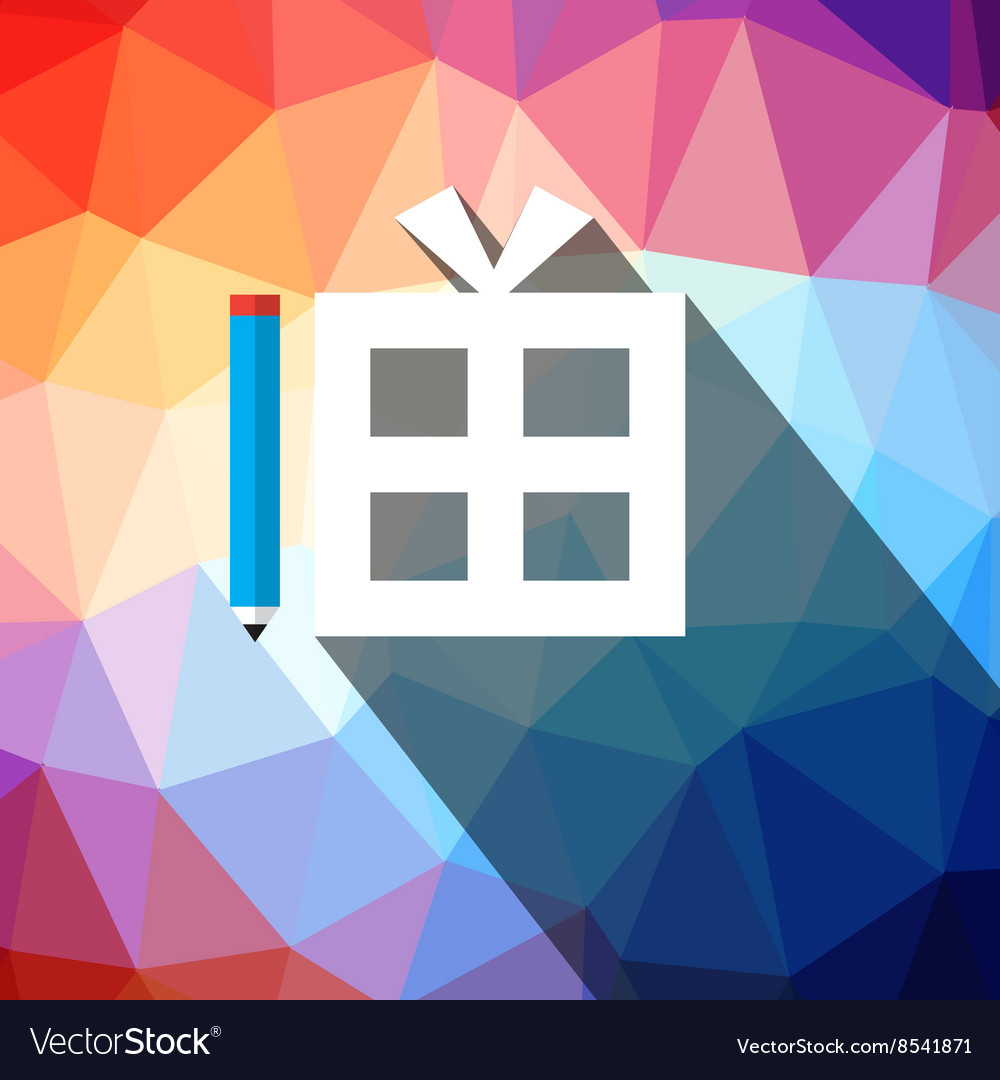 Gift Box on Triangle Background vector image