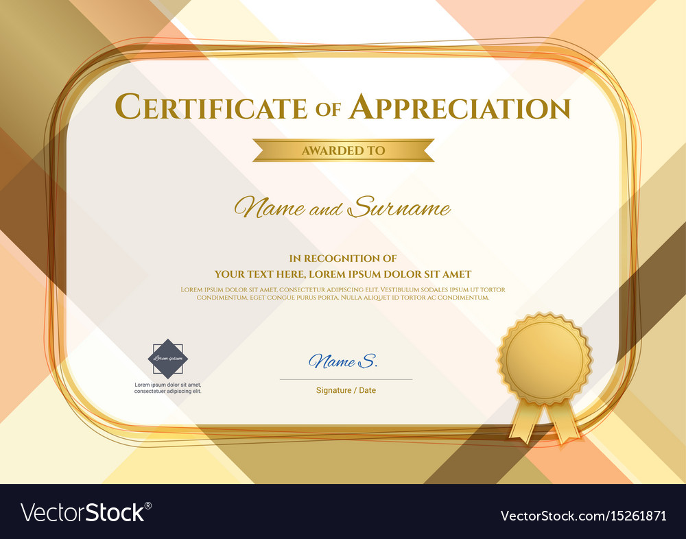 Modern certificate of appreciation template with vector image yadclub Image collections