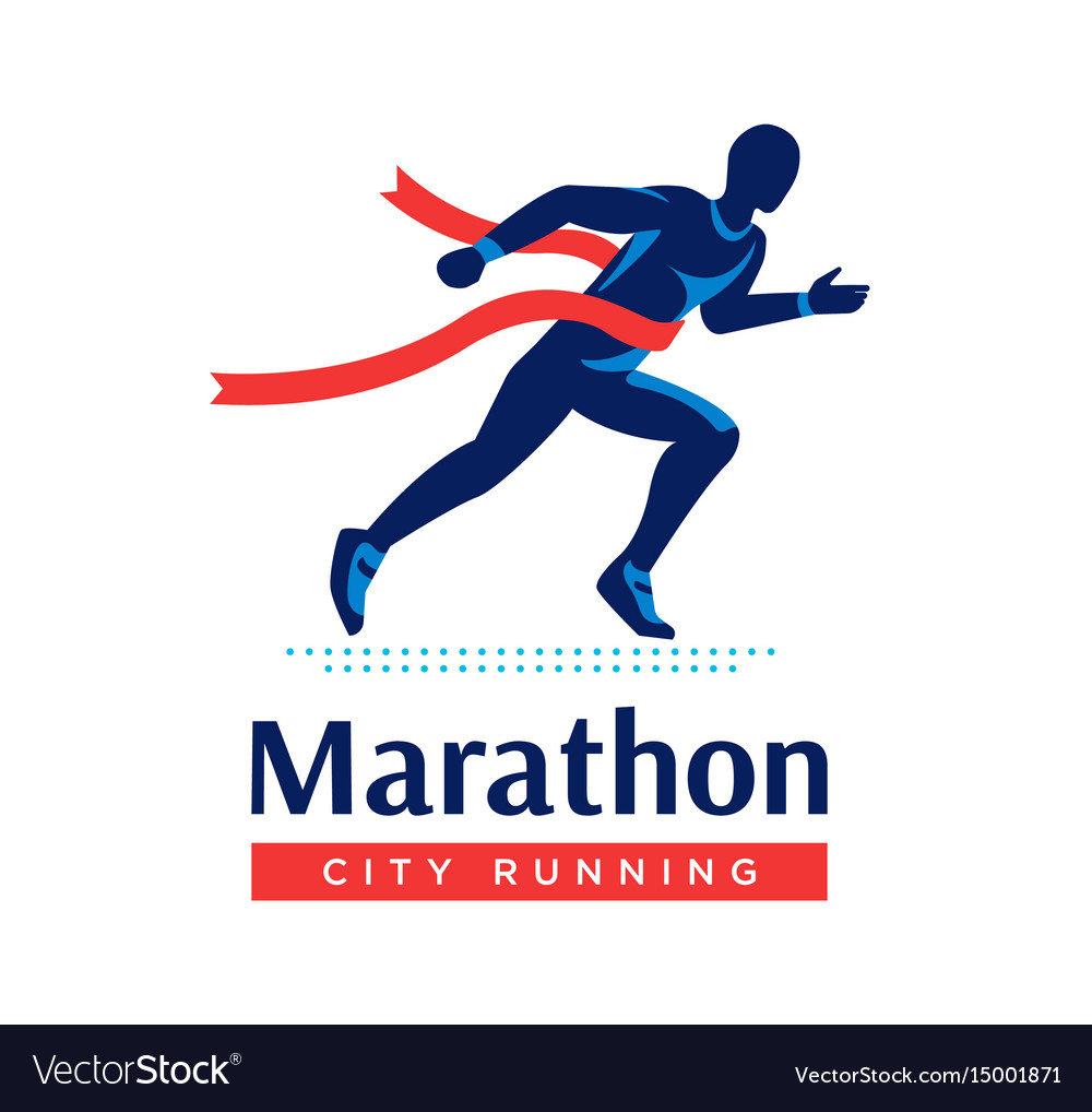Running marathon logo or label runner with red vector image