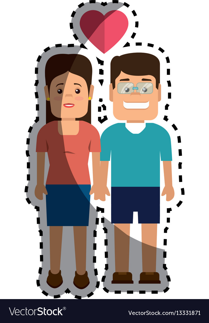 Sticker color silhouette with couple thinking in vector image