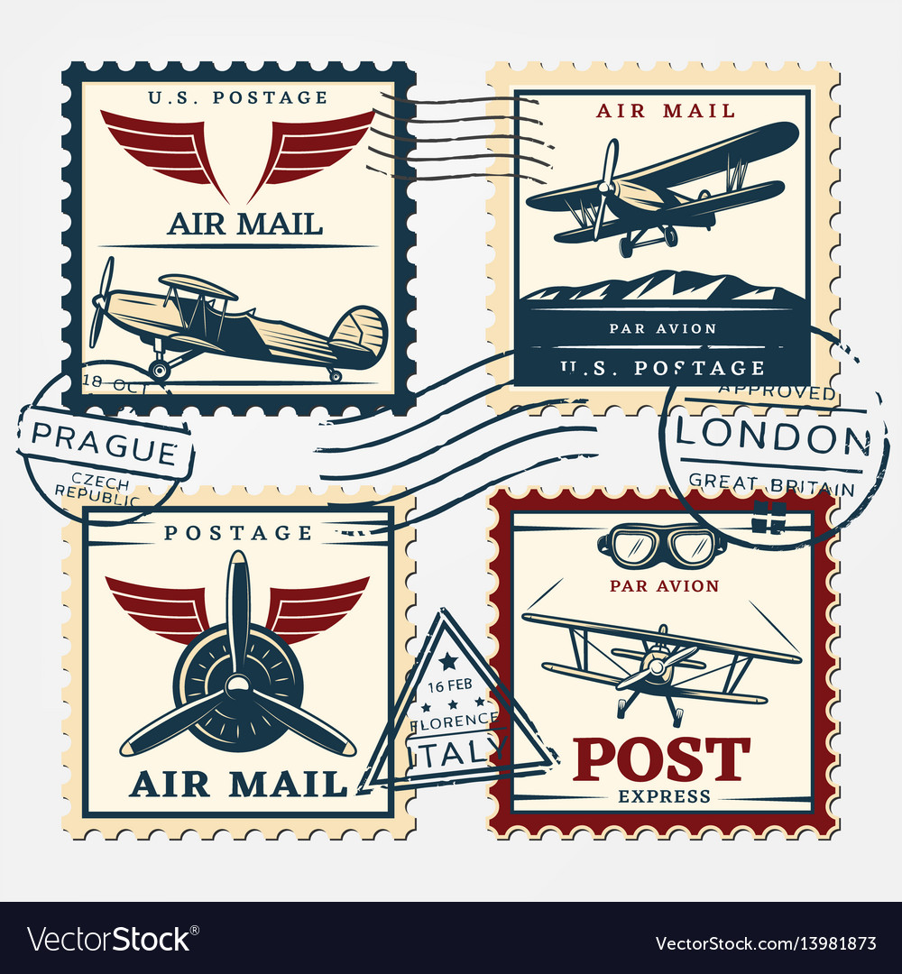 Colorful aircraft postage square stamps set vector image