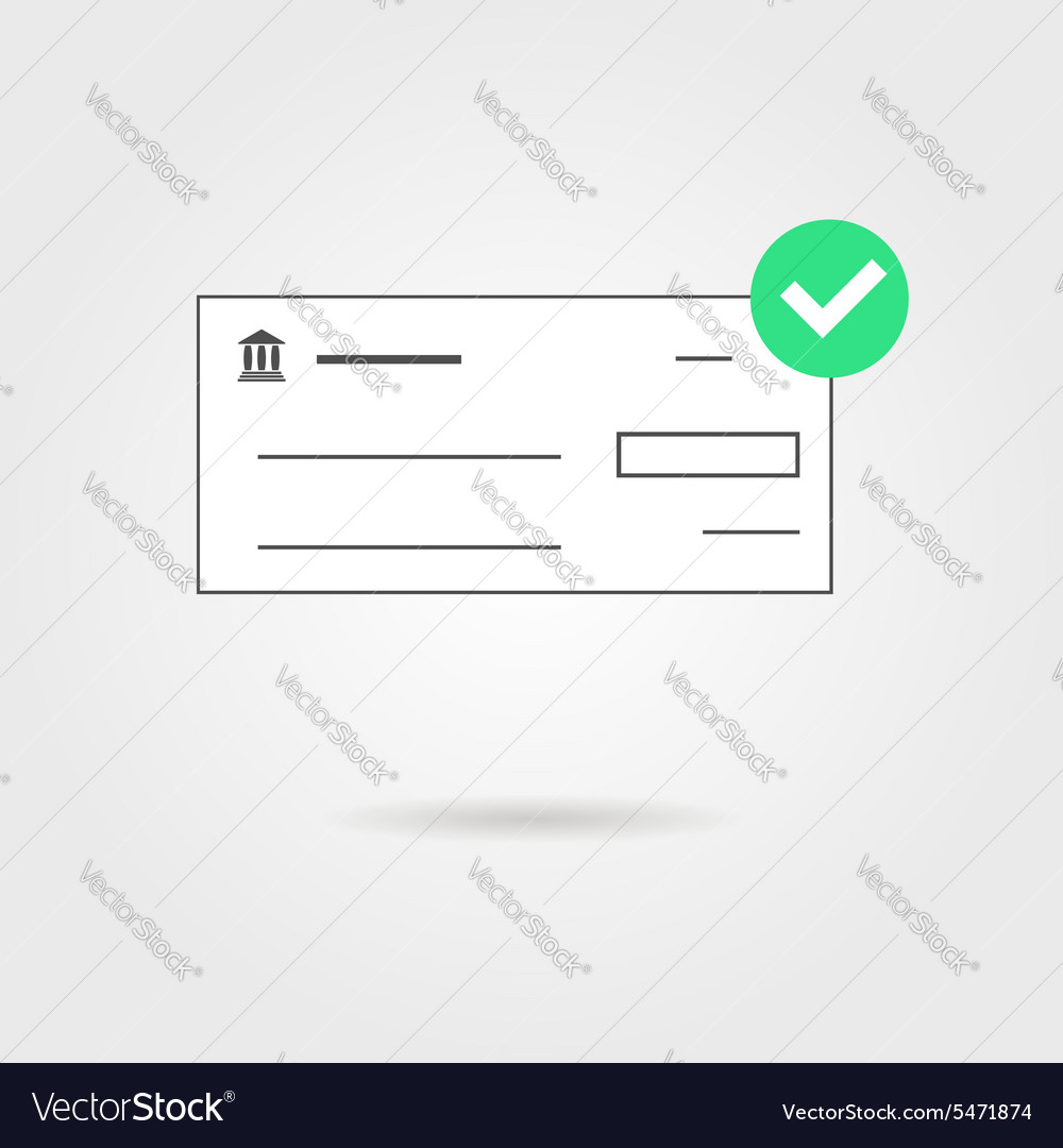 Bank check with green check mark icon and shadow vector image