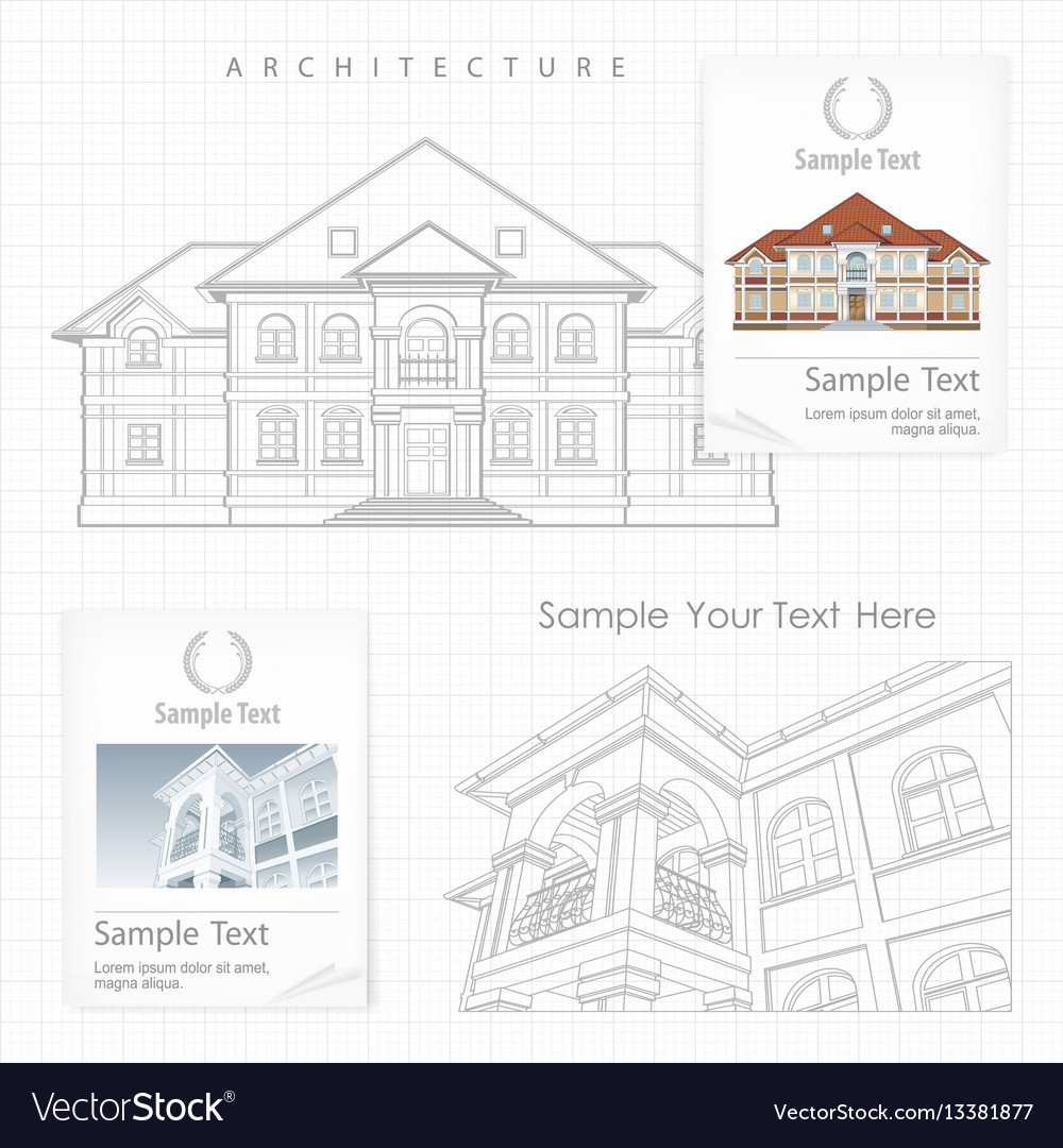 Architectural plan of building Royalty Free Vector Image