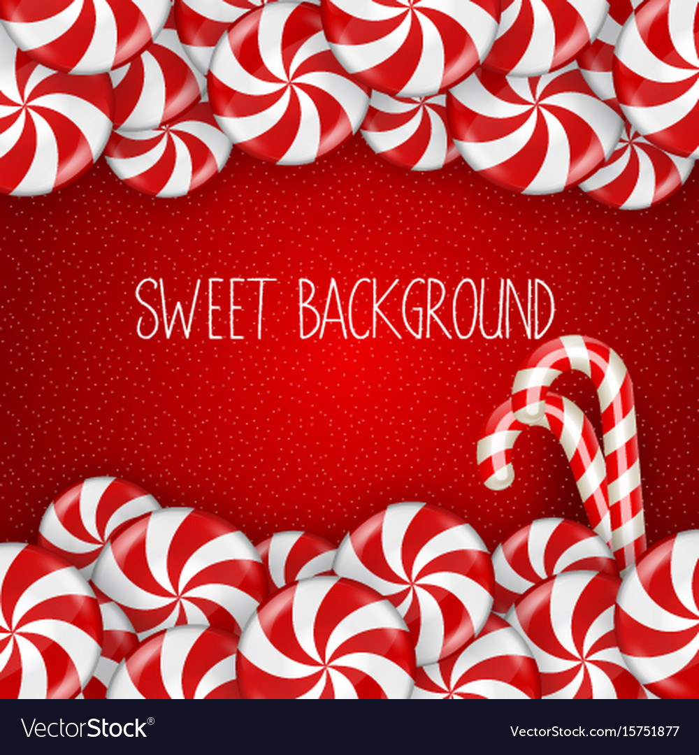 Bright candy on red background vector image