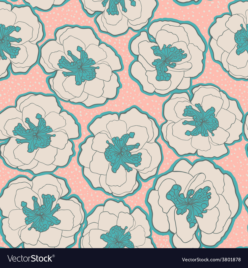 Colorful seamless pattern with blossom flowers vector image