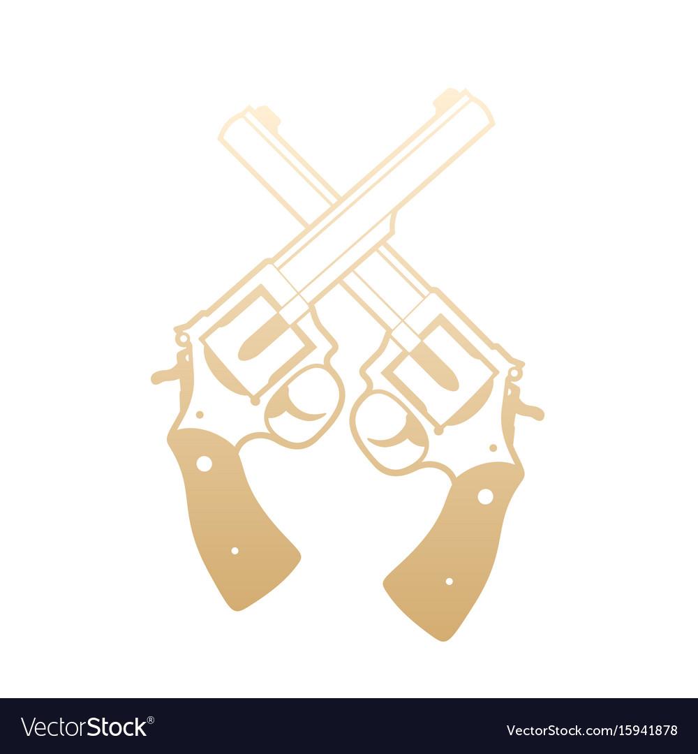 Revolvers crossed handguns gold over white vector image