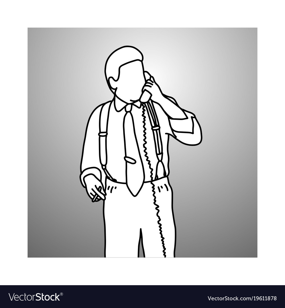 Smoking businessman with suspenders or braces vector image