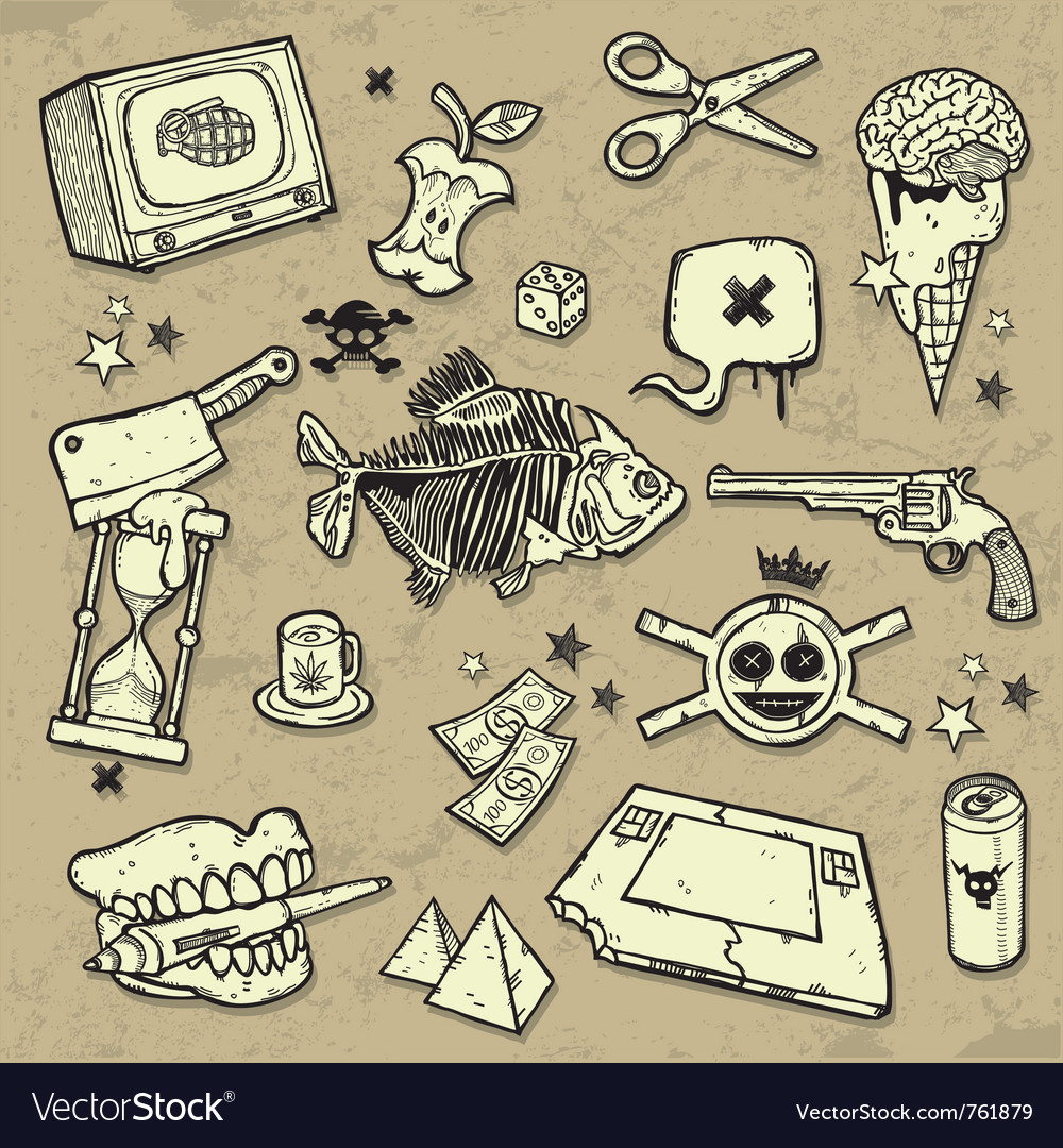 Mix of design elements vector image
