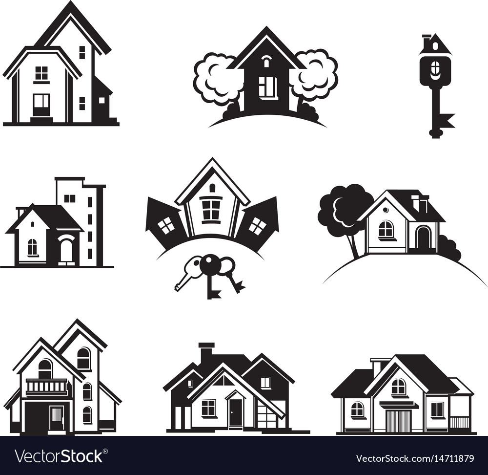 Houses black icon set vector image