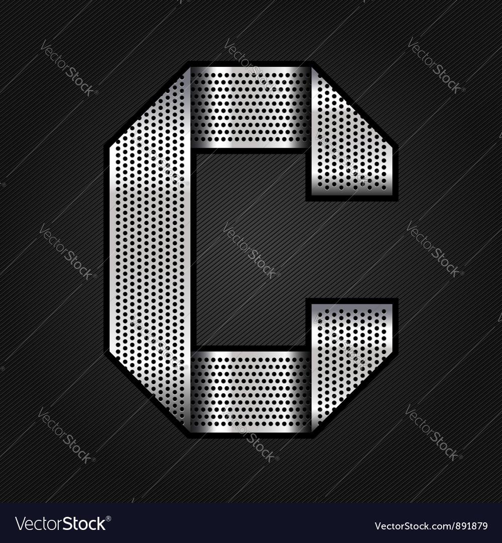 Letter metal chrome ribbon - C vector image