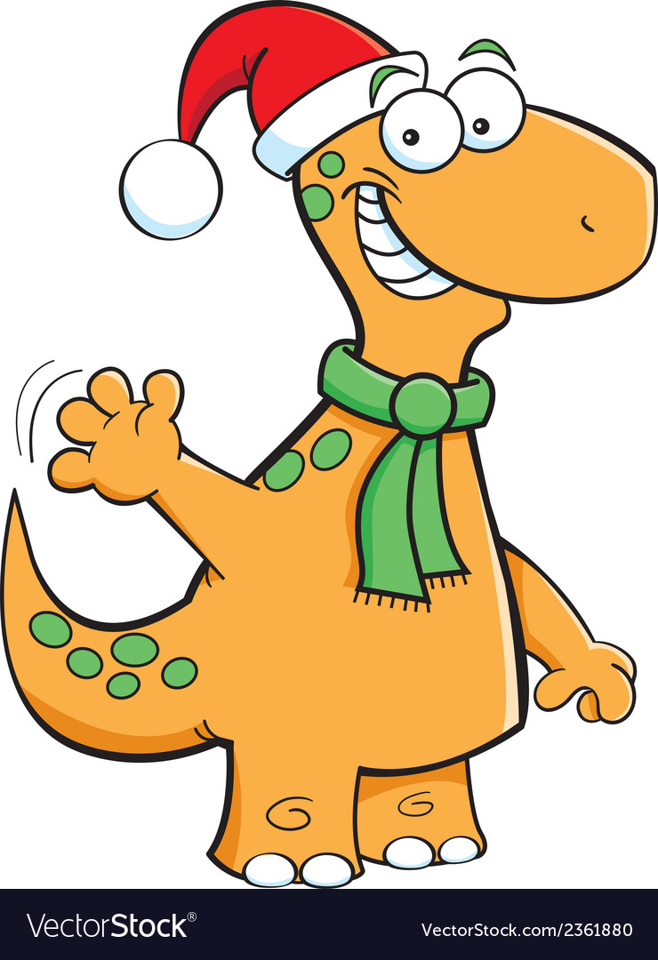 Cartoon Brontosaurus Santa vector image