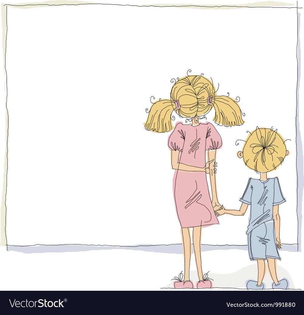 Girl and boy looking at blank board vector image