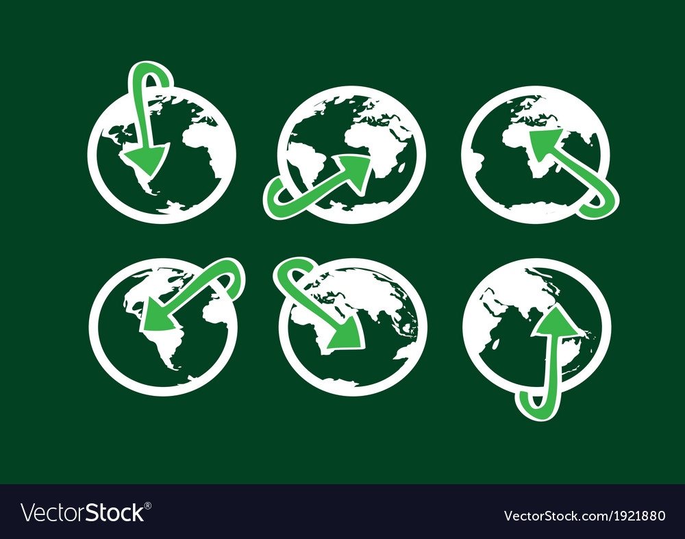 Globe earth icons themes idea design vector image
