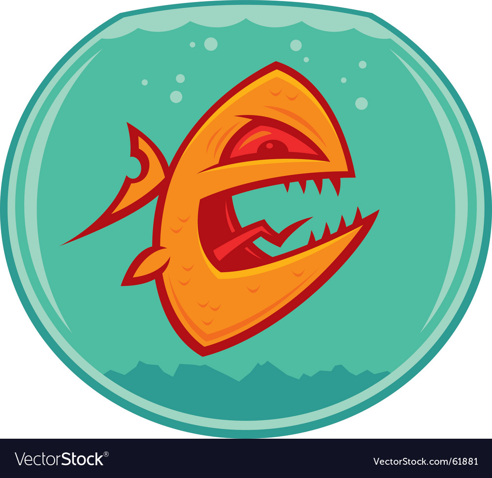 Vicious pet goldfish vector image