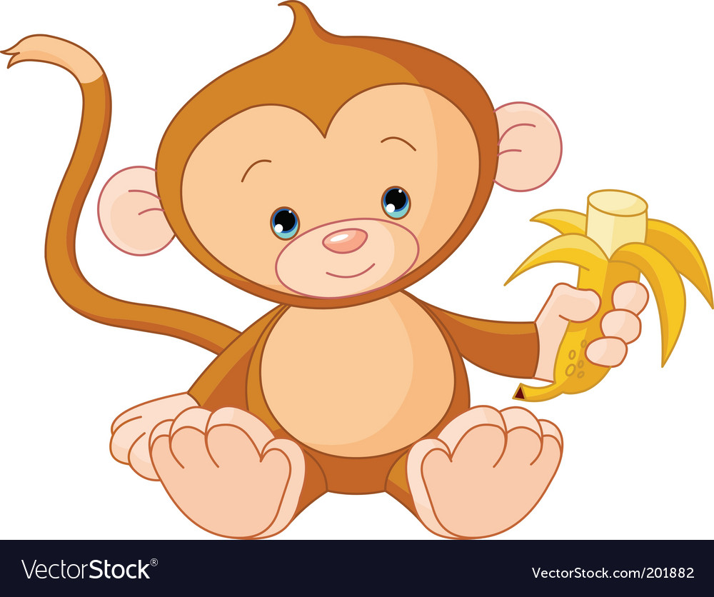 Cartoon Girl Monkeys. cute cartoon girl baby.