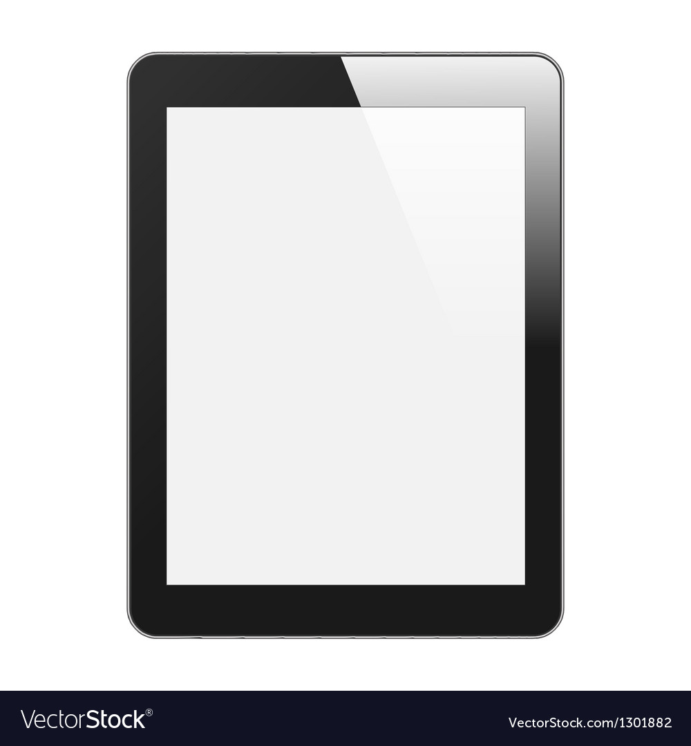 Realistic Tablet PC With Blank Screen Vertical vector image