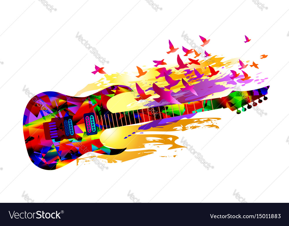 Music background with acoustic guitar and birds vector image