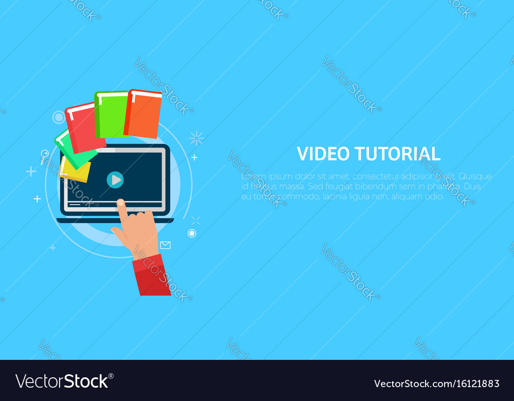 Video tutorial banner hand pressing a computer vector image
