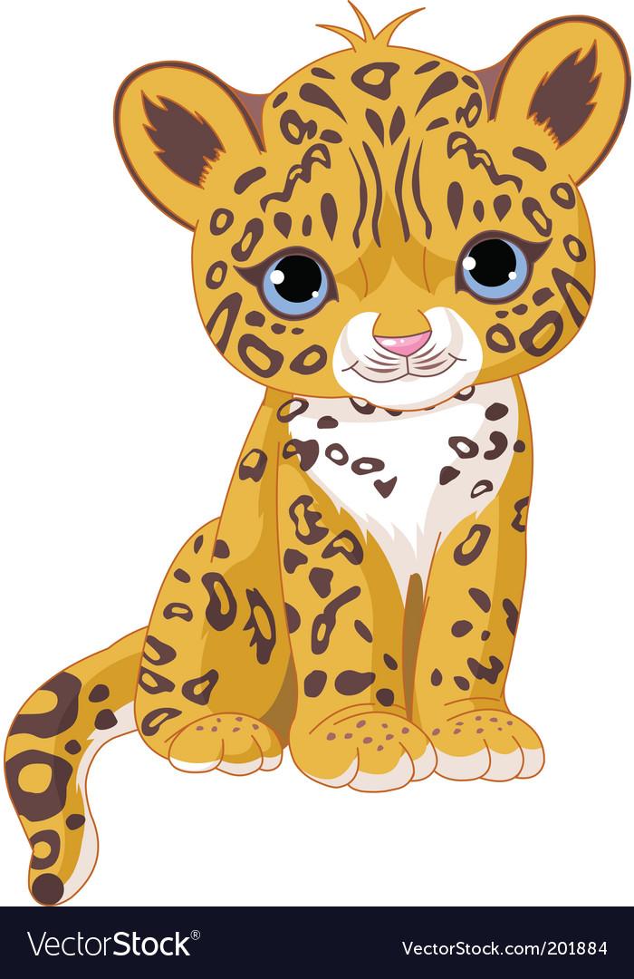 Cute jaguar cub Vector Image