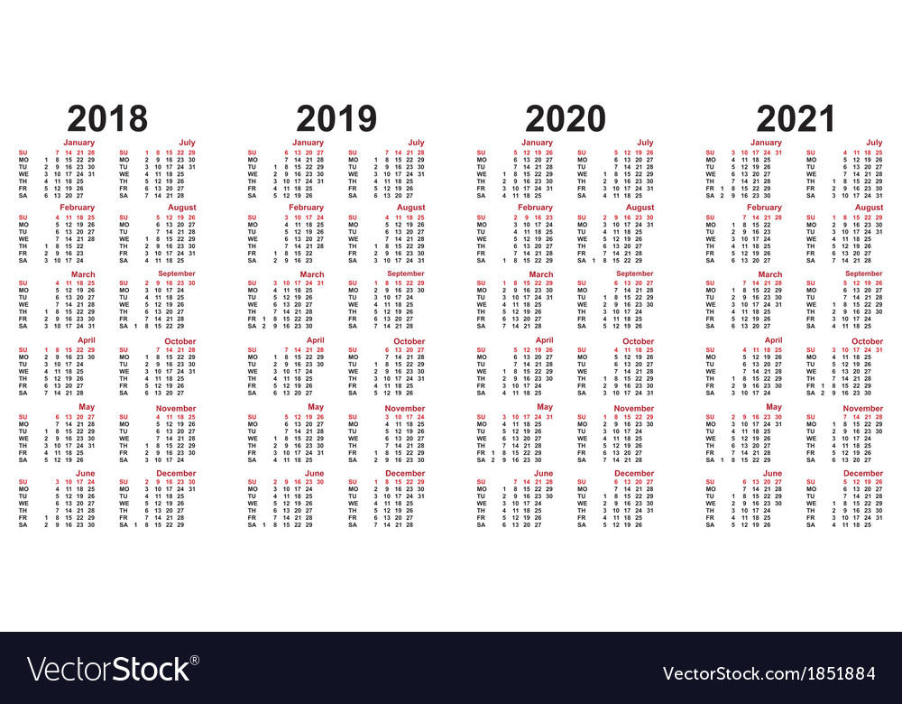 Calendar 2018 - 2021 Royalty Free Vector Image