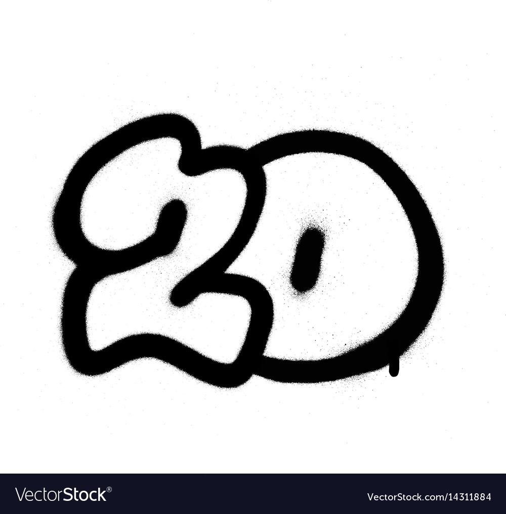 Graffiti number 20 twenty sprayed in black vector image