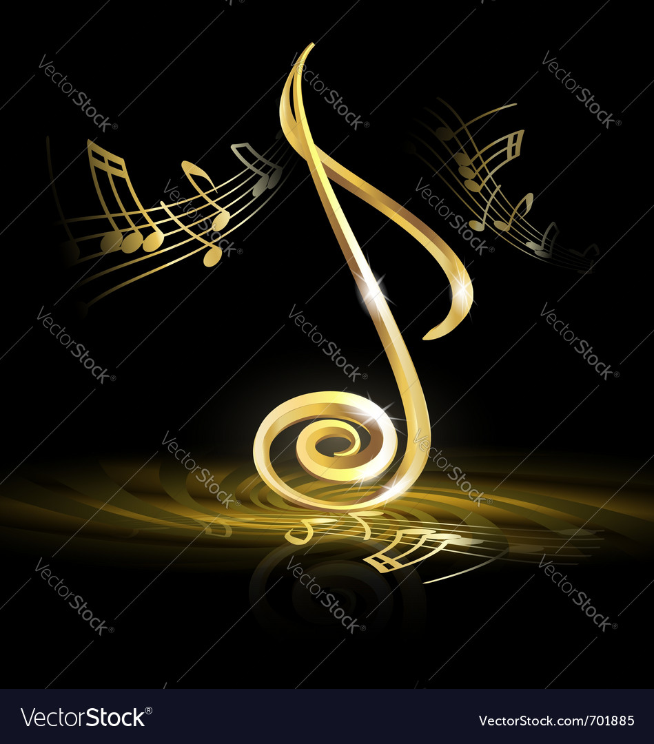 Golden note vector image