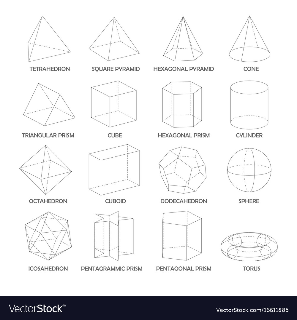 All basic 3d shapes template realistic with Vector Image