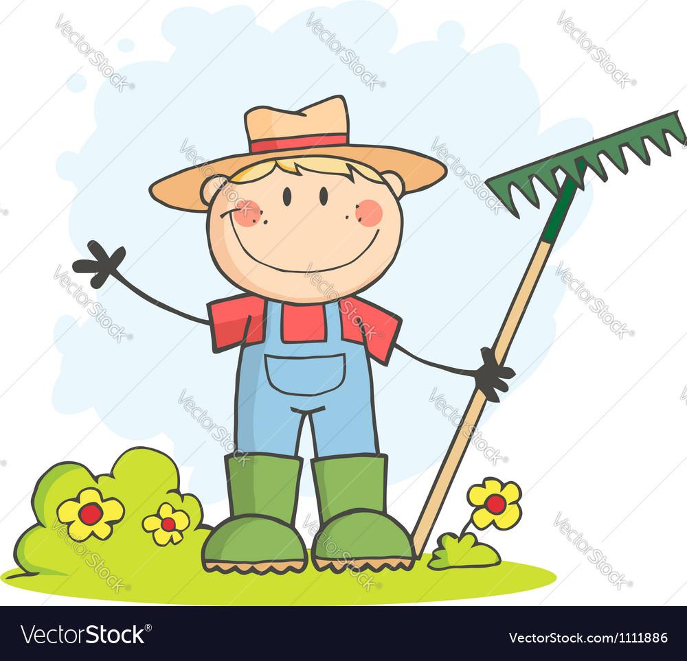 Gardening Boy Waving A Greeting vector image