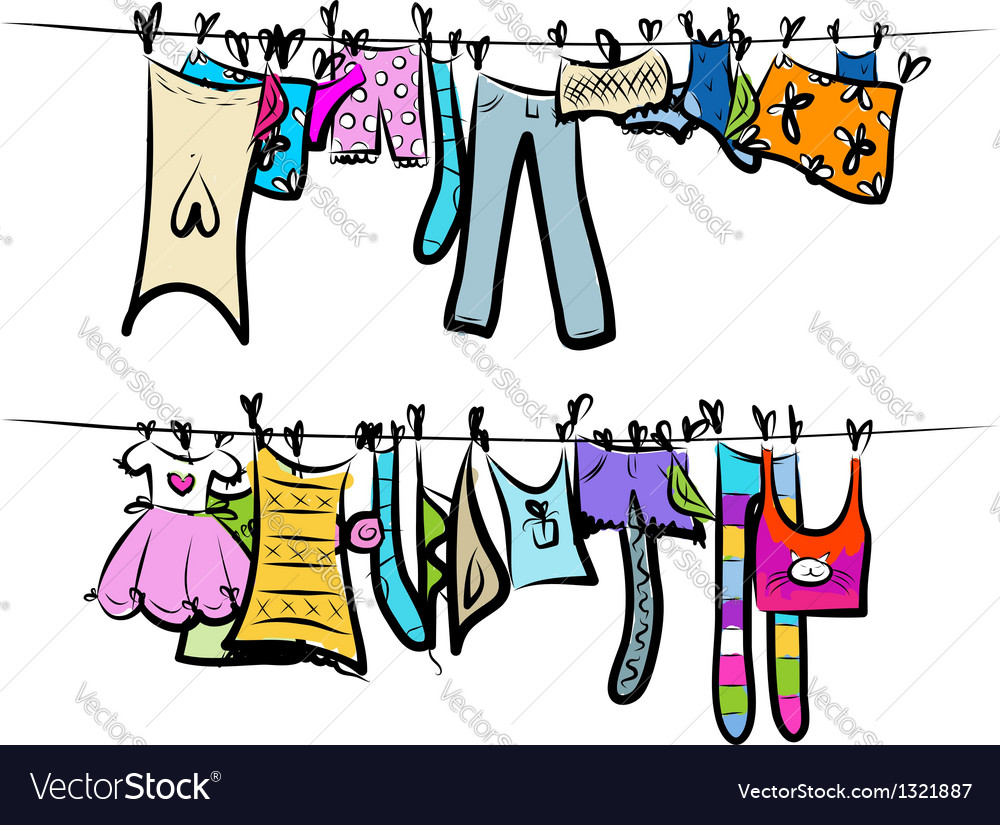 Clothes on the clothesline Sketch for your design vector image