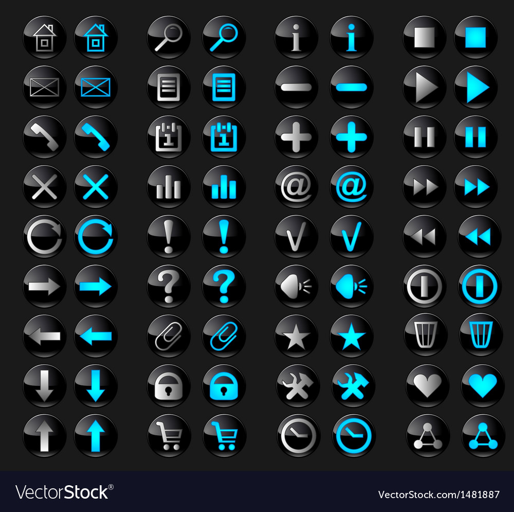 Black glossy buttons in active and inactive vector image
