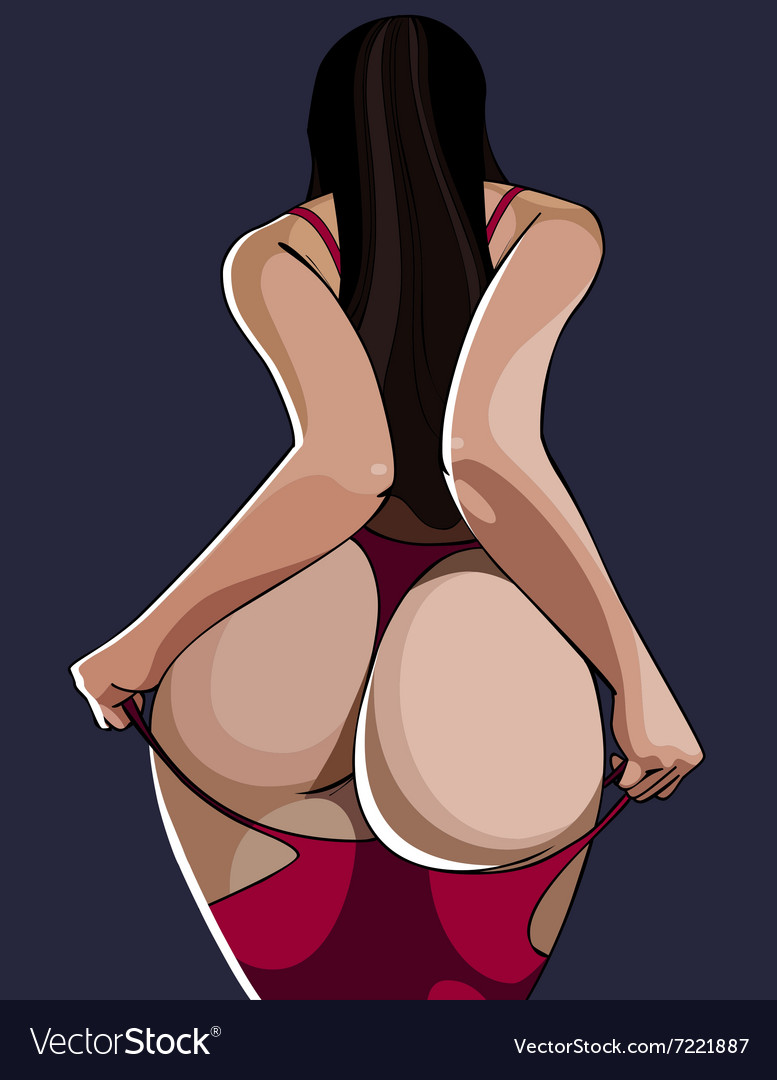 Cartoon sexy woman standing with a bare ass back vector image