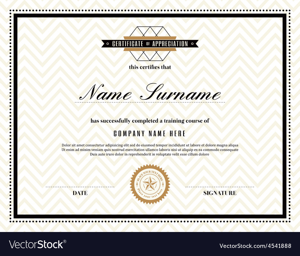 Retro frame certificate design template royalty free vector retro frame certificate design template vector image yadclub Image collections