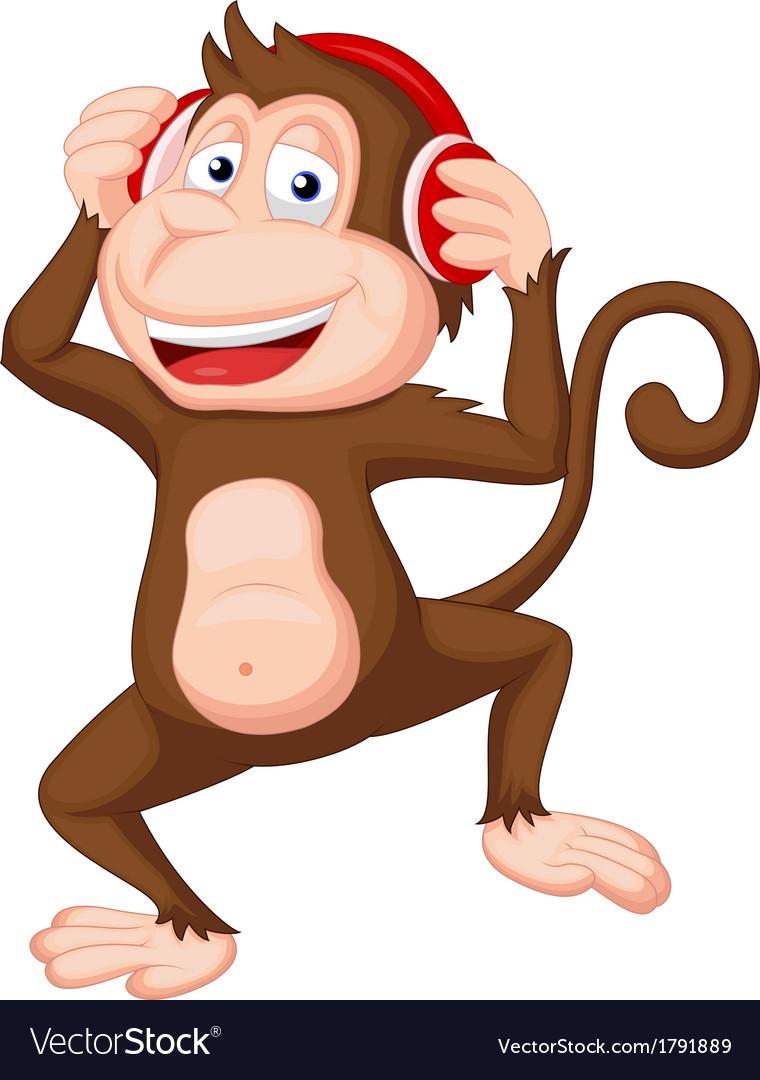 Cute monkey cartoon dancing vector image