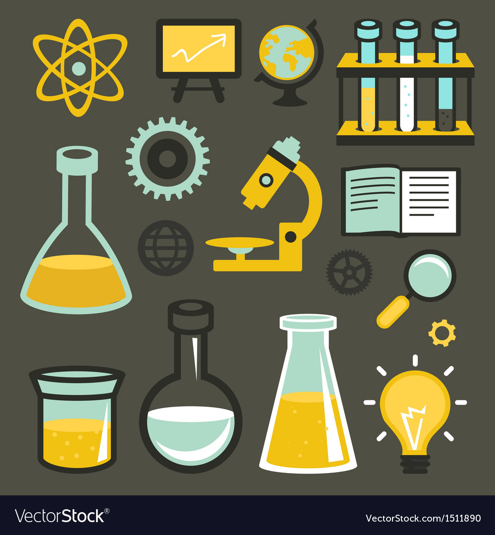 Flat icons and sign - science and education Vector Image