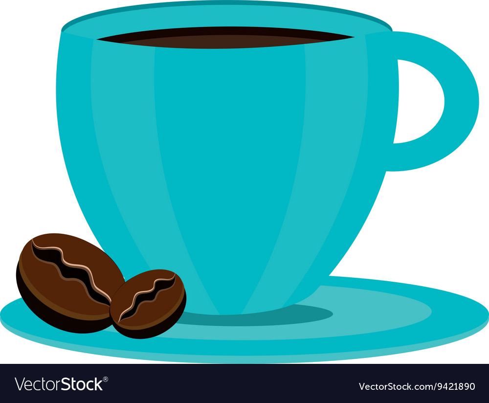 Blue coffee cup graphic vector image