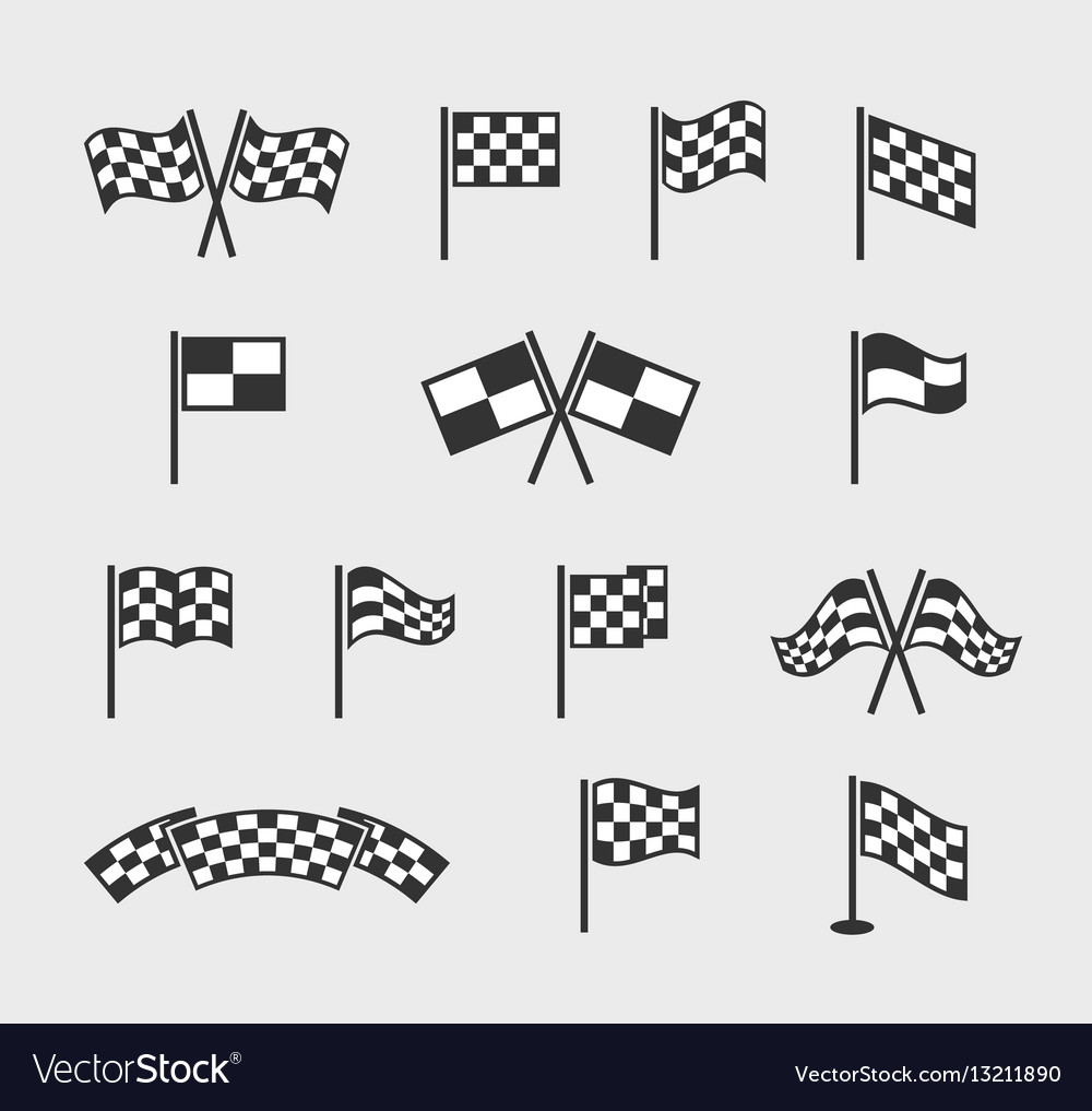 Checkered flags racing waving finish and vector image