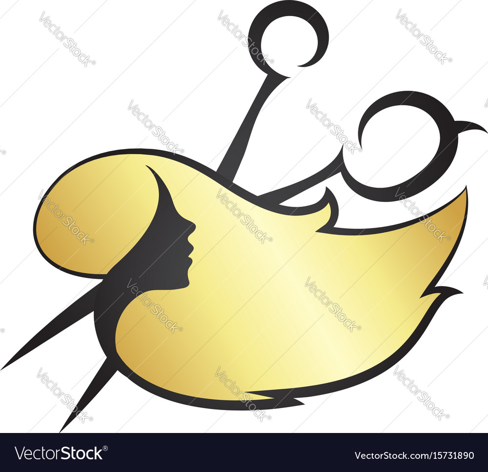 Girl hair and scissors vector image