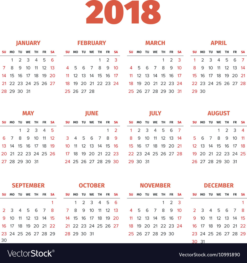 Year Calendar Vector : Simple year calendar royalty free vector image