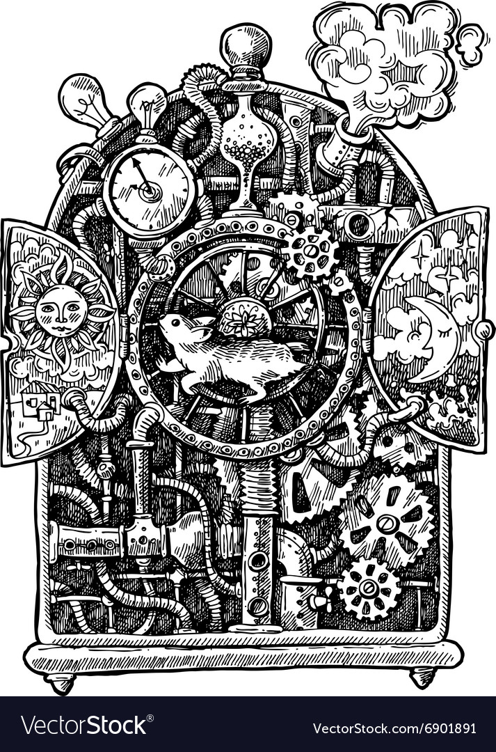 Steampunk time machine Royalty Free Vector Image