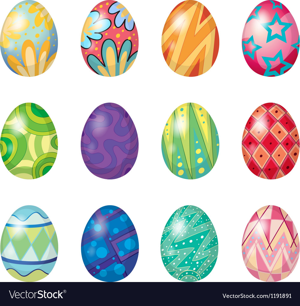Twelve easter eggs vector image